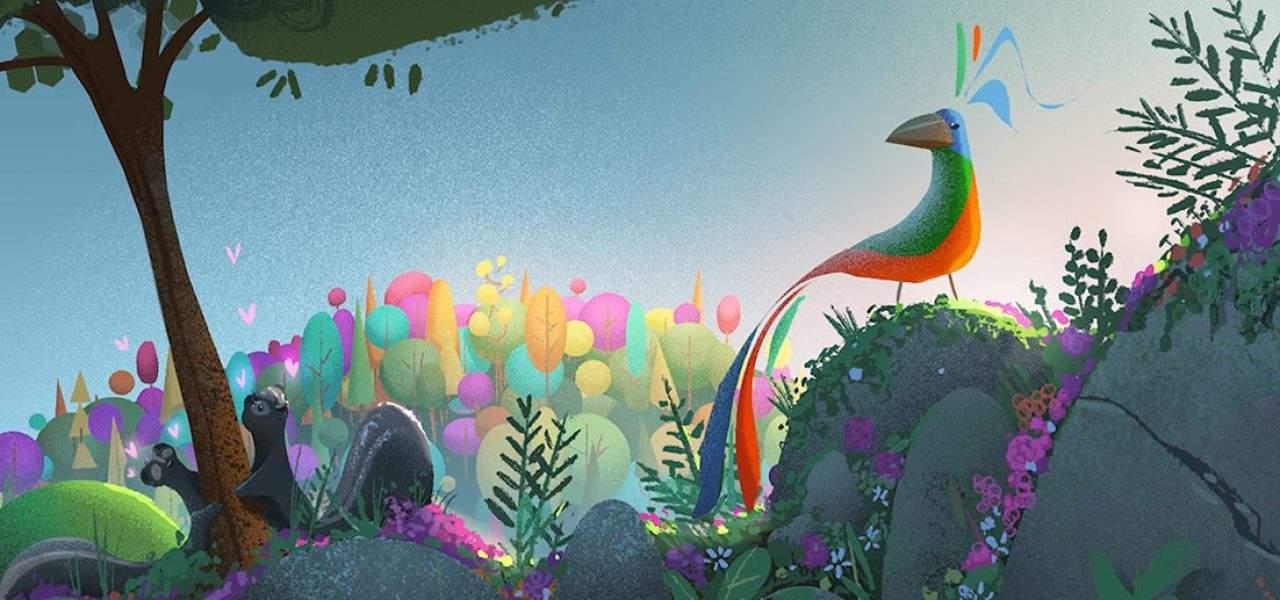 VR animation rainbow crow